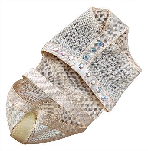 BELLYQUEEN Almohadillas de Danza del Vientre Mujer Zapatillas de Baile Descalzo con Decoración Diamante Tanga Pie Calcetines Yoga Pilate Ballet - Beige S 34-35