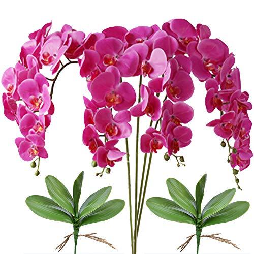 FagusHome 32 Pulgadas de Flores Artificiales de Phalaenopsis 4 Piezas con 2 Paquetes de Hojas de Flores de orquídeas Artificiales Plantas de Tallo para la decoración del hogar (Púrpura)