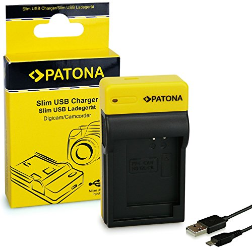 PATONA Estrecho Cargador de Batería para Canon NB-12L, NB-13L, PowerShot G7 X | 4.2 V/500 mA | Micro-USB Cable