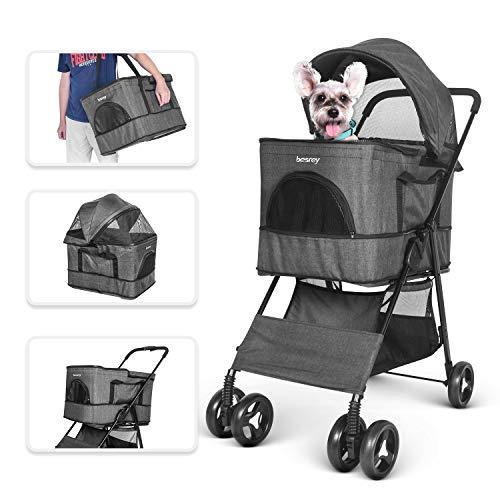besrey 4 in 1 Hundewagen Hundebuggy für Hunde Katze Pet zusammenklappbar kann als Buggy Transporttasche Haustierhaus oder Autositz - schwarz