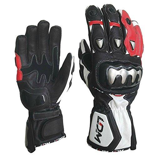 LDM Corsa X1 Motorradhandschuhe – Outdoor Frühling Sommer und Herbst Motorrad Rennhandschuhe aus Leder – Handschuhe - schwarz rot weiß