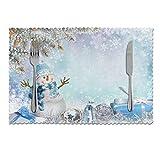 Manteles individuales Feliz Navidad con elegante muñeco de nieve, juego de 6 manteles individuales antideslizantes resistentes al calor, lavables, para cocina, comedor, hogar, 12 x 18 pulgadas