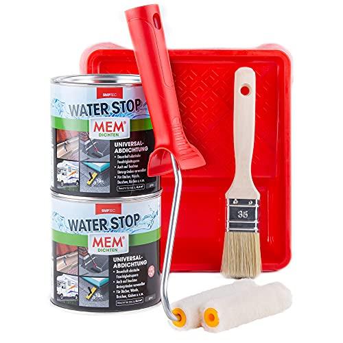 MEM WATER STOP 2x 1KG - Dichtmasse wasserdicht - Universalabdichtung und Feuchtigkeitssperre im Set mit Farbwanne, Malerbügel, Velourwalzen & Pinsel für eine schnelle,...