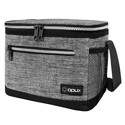 OPUX Premium Lunch Box, Insulated Lunch Bag for Men Women Adult | Durable School Lunch Pail for Boys, Girls, Kids | Soft Leakproof Medium Lunch Cooler Tote for Work Office | Fits 8 Cans (Heather Grey)
