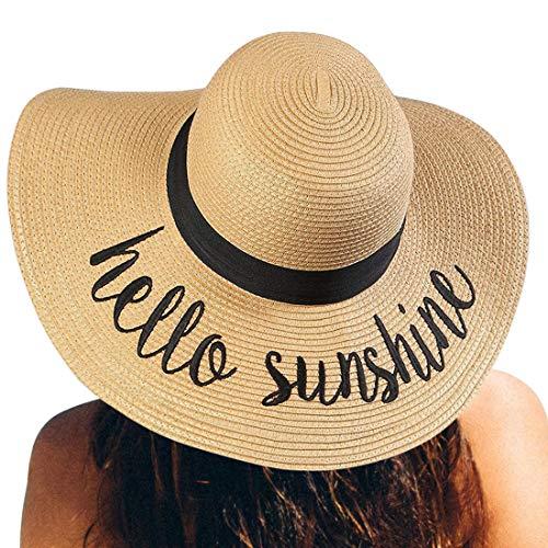 Womens Straw Hat Wide Brim Floppy Beach Cap Adjustable Sun Hat for Women UPF 50+ (Hello Sunshine&Khaki)