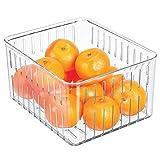 mDesign Organizador de nevera grande – Práctico organizador de despensa sin tapa – Amplias cajas plásticas organizadoras para alimentos con ranuras laterales de ventilación – transparente