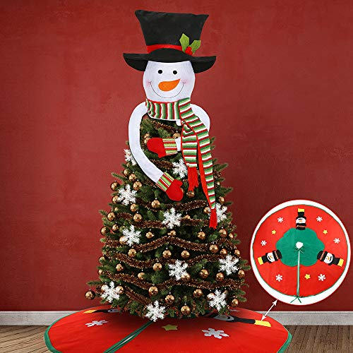 Auihiay 2 Pieces Snowman Christmas Tree Topper Set with Christmas Tree Skirt and Snowflake Ornaments for Xmas New Year Winter Party Decorations Supplies