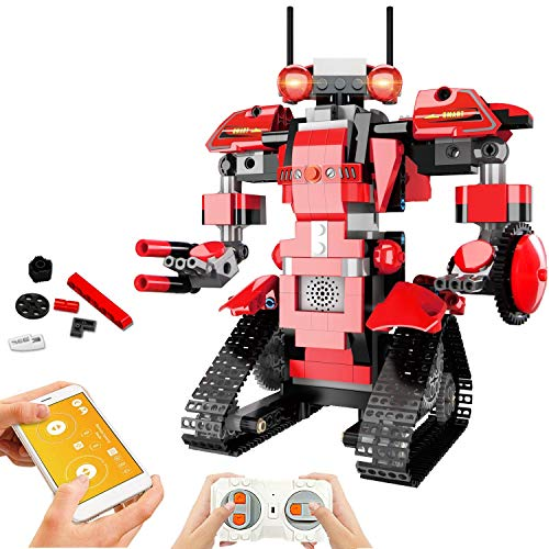 STEM Robot Toys for Kids, Cool Science Building Block Kit for Boy and Girl, Fun Educational Remote Control Toy with App Control for Learning for 8 9 10 11 12 13 14 Year Old Boys and Girls (Red)