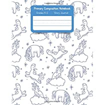 Primary K2 Composition Notebook: For Kids K-2 Grades Story Journal | Picture Space and Dashed Midline Unicorn Pattern Drawing Cover