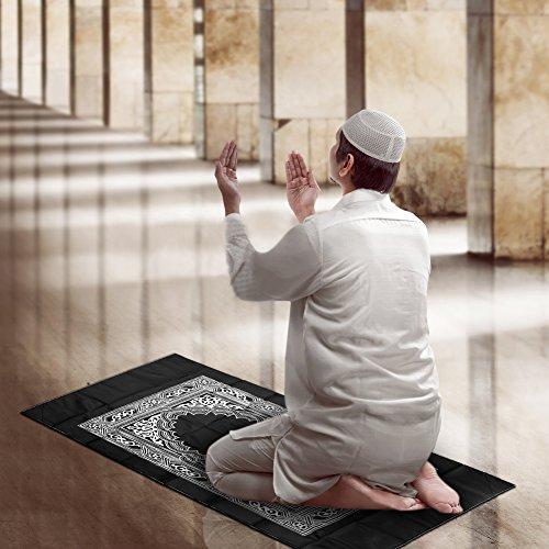 Hitopin Reise-Gebetsteppich mit Kompass, Taschengröße, tragbarer Kompass, Qibla-Finder mit Booklet, wasserdicht, tragbar, schwarz, bestes islamisches Geschenk für muslimische