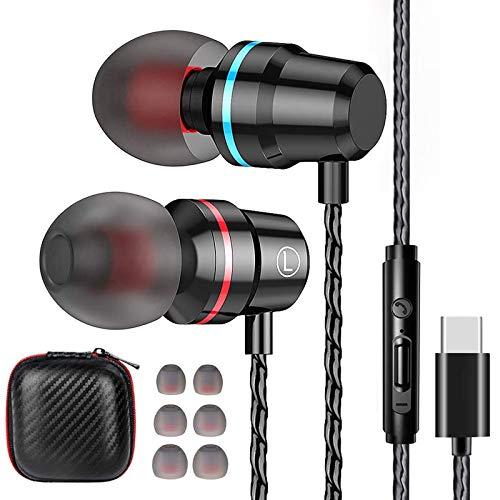 Losvick Écouteurs USB Type C Intra-Auriculaires, Écouteurs Filaire [Anti-Bruit Casque] Audio avec Microphone pour Huawei, Samsung S20, iPad Pro et Autres appareils d'interface de Type C - Noir