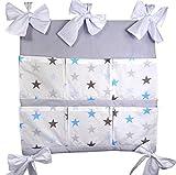 Baby Betttasche für Baby Bett, Utensilio, Wandaufbewahrung, Aufbewahrung fürs Kinderbett 60cm (BiG Stars blau)