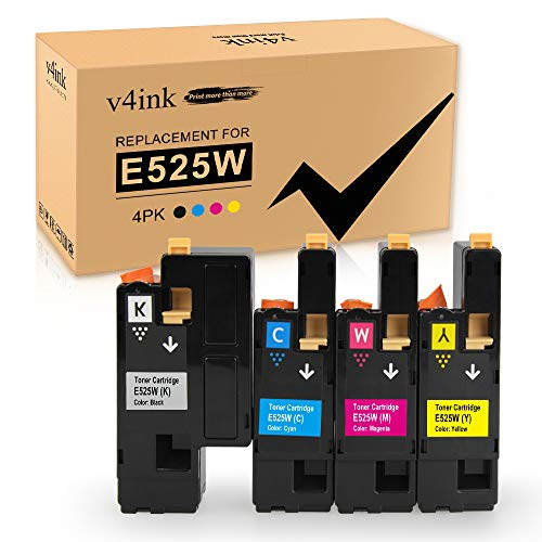 V4INK Compatible Toner Cartridge Replacement for Dell 525 E525 E525W (KCMY 4-Pack), for use in Dell E525w Wireless Color Printer for Dell 593-BBJX 593-BBJU 593-BBJV 593-BBJW