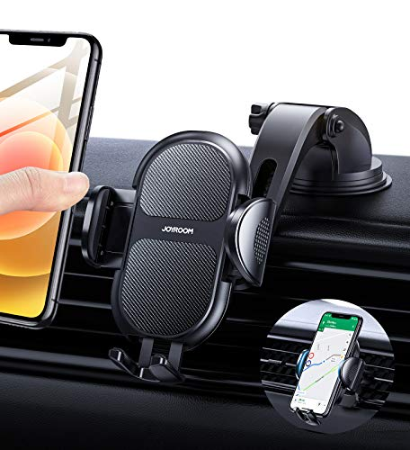 Car Phone Holder Mount, Car Phone Holder for Dashboard & Windshield Strong Suction Cell Phone Cradle for Car Fit for iPhone 12 Pro Max/12 Mini/12 Pro/12/11/11 Pro Max/11/XS/8/7/6 Samsung etc Phones