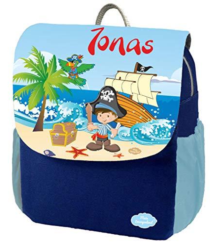 Mein Zwergenland Kindergartenrucksack Happy Knirps Next Print mit Name Pirat, 6L, Blau