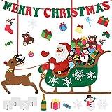 Conjunto de Decoraciones navideñas para niños, Fieltro de Bricolaje, Papá Noel en Trineo de Renos, Adornos con Pancarta de Feliz Navidad para Regalos de Fiesta de Navidad