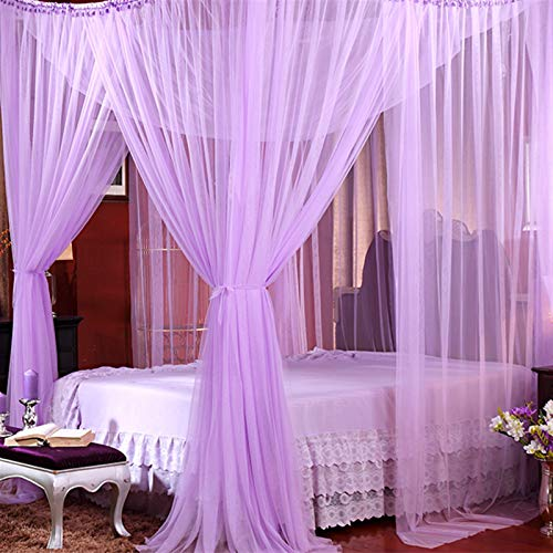 YZDKJ Canopy White Black Four Corner Post Student Canopy Bed Bed Mosquito Net Netting Queen King Tamaño (Color : Purple)