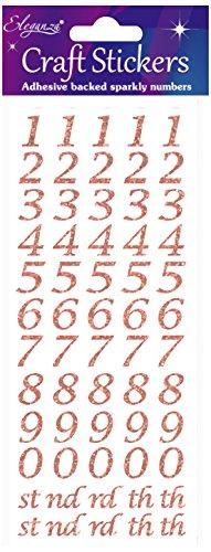 Eleganza OA027241 Stylised Number Glitter Craft Stickers - Rose Gold Zelfklevende Nummers