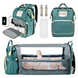 Newborn Essentials Stuff, Baby Travel Gear Necessities Clearance, Diaper Bag Backpack with Bed, Newborn Registry Baby Shower Gifts for Maternity, Bottle Warmer Diaper Bag for Dad/Mom