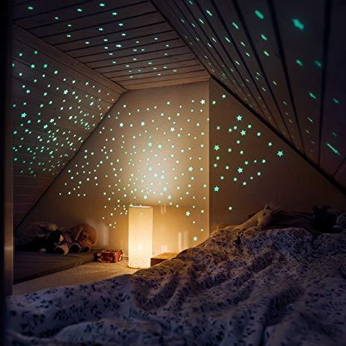 M&A Kids 400 Leuchtsterne selbstklebend in drei Größen – Sternenhimmel für sorglosen Schlaf – Leuchtende Sterne - Wandsticker Kinderzimmer