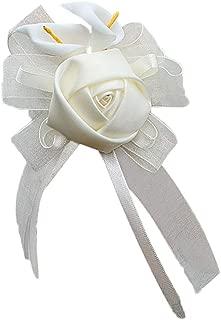 Jajx Rose Flower Bracelet Wrist Corsage Calla Lily Cream Ribbon Wrist Flower Wristband for Wedding Prom