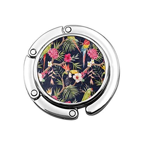 Aquarell tropischen Baum Muster Pflanzen Blumen von Hibiskus blühenden Ingwer Faltbare Handtasche Haken Geldbörse Haken