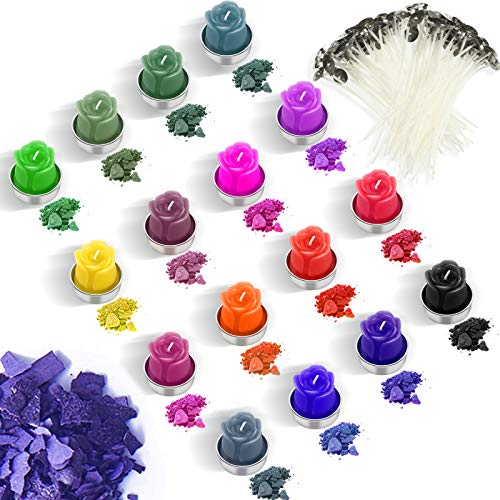 16 Color Candle Wax Dye Candle Dye Flakes Candle Making Color Dye with 100 Pieces Candle Wicks for DIY Candle Making Supplies