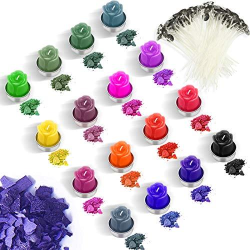 16 Farbe Kerze Wachs Farbstoff Kerze Färbemittel Flocken Kerze Herstellung Farbe Farbstoff mit 100 Stücke Kerze Dochte for DIY Kerze Herstellung Zubehör