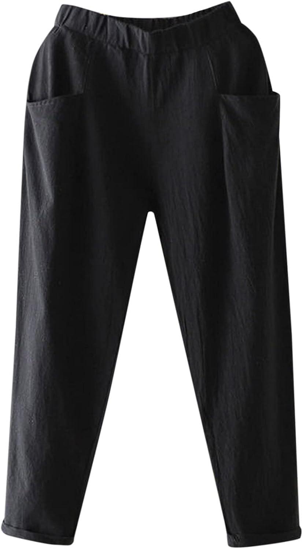 iZZZHH Ladies Cotton Linen Pants Elastic Waist Thin Pants Casual 9/10 Pants All-Match Little Feet Harem Pants