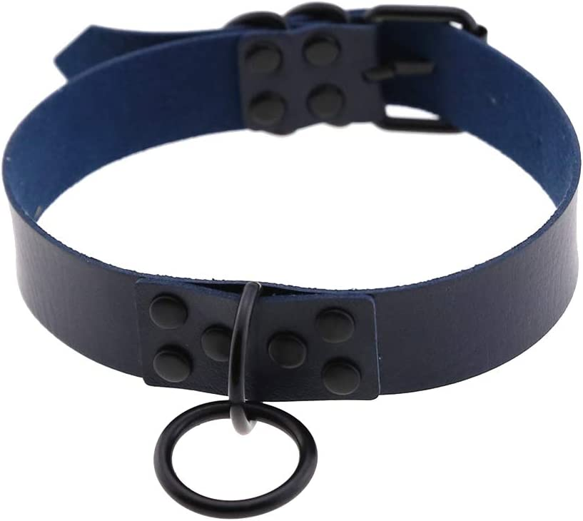 Yaoyodd19 Punk Metal Ring Adjustable Women Faux Leather Choker Gothic Necklace Collar - Dark Blue