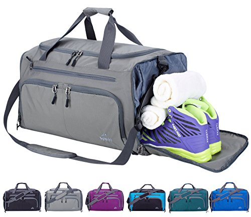 Venture Pal 20' Packable Sports Gym Bag with Wet Pocket & Shoes Compartment Travel Duffel Bag for men and Women-Grey