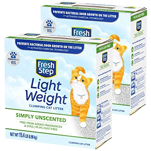 Fresh Step Simply Unscented Lightweight Clumping Cat Litter, 15.4 Pounds (Package May Vary)