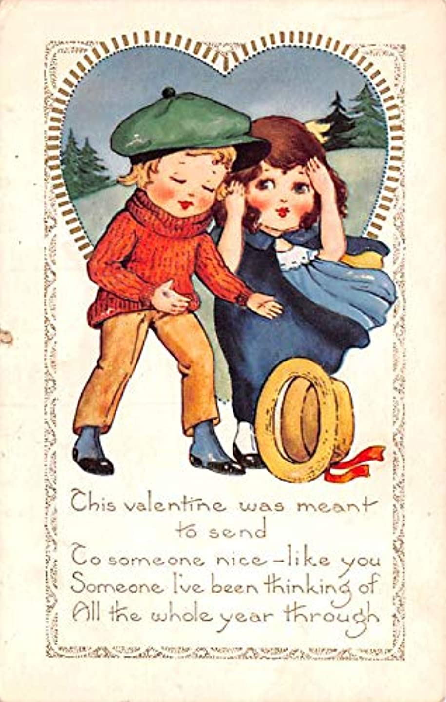 Valentines Day Post Card Old Vintage Antique Postcard Whitney Made writing on back