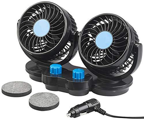 Lescars Ventilator 12V: Kfz-Doppel-Ventilator für 12-V-Anschluss, mit 2 Stufen, 6,5 Watt (12 Volt Ventilator)