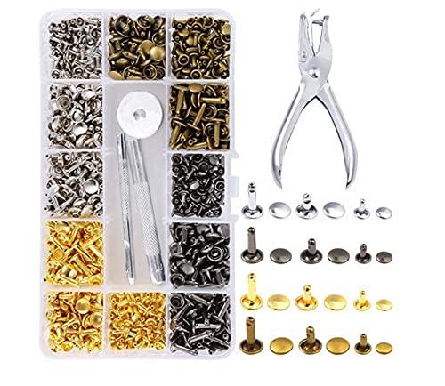 Botón a presión de metal Remache tubular de doble cara de hierro duradero para zapatos de cuero para manualidades
