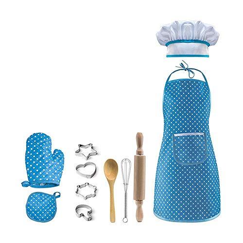 Kinder Schürzen-Set, Aolvo Kochen, Backen, Koch Set mit Schürze, Kochmütze, Kochhandschuh, andere Utensilien für Kleinkinder