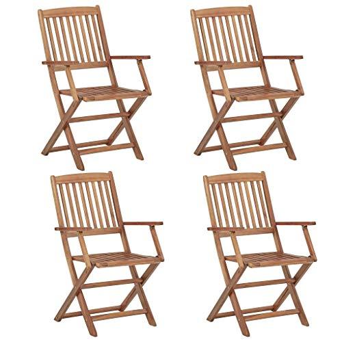 CFG, Silla de jardín para exteriores taburete de madera, 4 piezas, silla de jardín plegable de acacia de madera maciza, silla de comedor con reposabrazos y respaldo, silla de comedor de madera