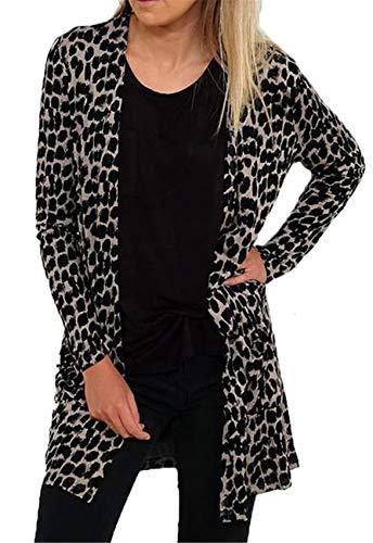 SZIVYSHI Langarm Buttonless Leopard Lang Cardigan Strickjacke Strickmantel Bluse Hemd Jacket Jacke...