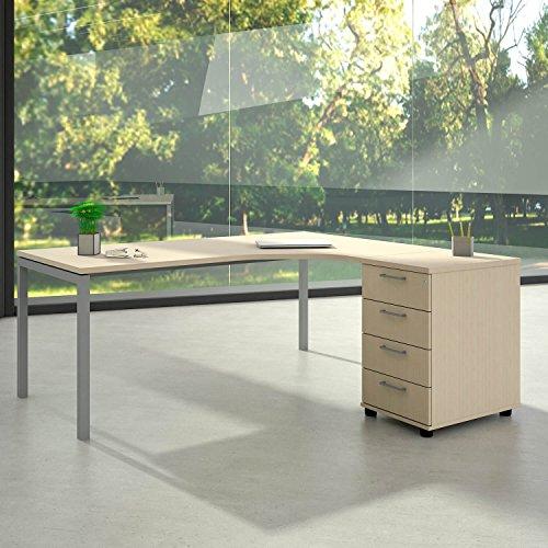 Weber Büro Winkelschreibtisch mit Standcontainer NOVA XL 180x163cm Ahorn Eck-Schreibtisch, Gestellfarbe:Silber