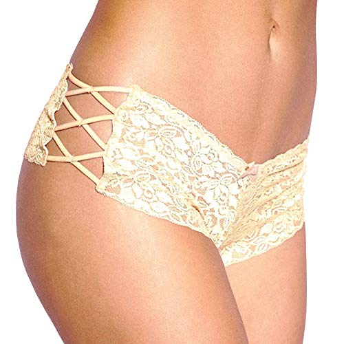 Women's Sexy Lingerie Lace Boyshort Panties with Lace Side Tie Boyleg Stretched Underwear Medium=US 4-6 Gold