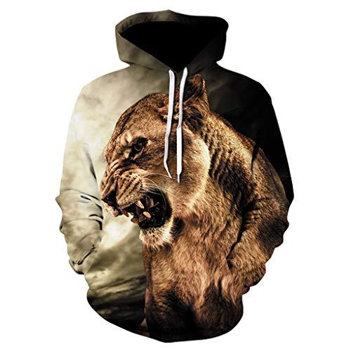 Xmiral Kapuzenpullover Herren 3D Tier Drucken Sweatershirt Lange Ärmel Hoodies Pullover mit Tasche Tunnelzug Outdoor Sportbekleidung (D Khaki,3XL)