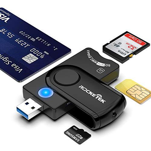 USB 3.0-Smartcard-Lesegerät,Rocketek USB 4-Port DOD Military USB-CAC-Kartenlesegerät mit allgemeinem Zugriff für SDHC/SDXC/SD-und Micro SD/SIM