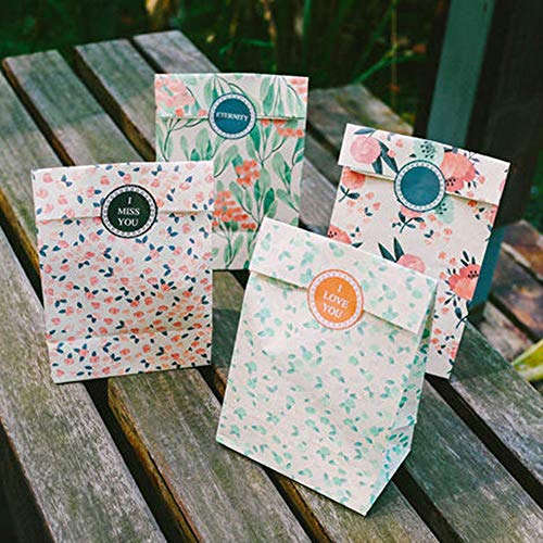 Gift Bags & Wrapping Supplies - 4pcs Set Floral Paper Gift Bags Flowers Craft Folded Candy Cake Food Bag With Sticker Party Favors - Gift Bag Bag Recycled Wrapping Bag Bag Daisy Kraft Paper
