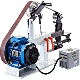 Happybuy 2Hp Belt Grinder Variable Speed 2 X 82inch Belt Disc Sander with 3 Grinding Wheel Bench Sander 12inch Wheel and Flat Platen Tool Rest for Knife Making
