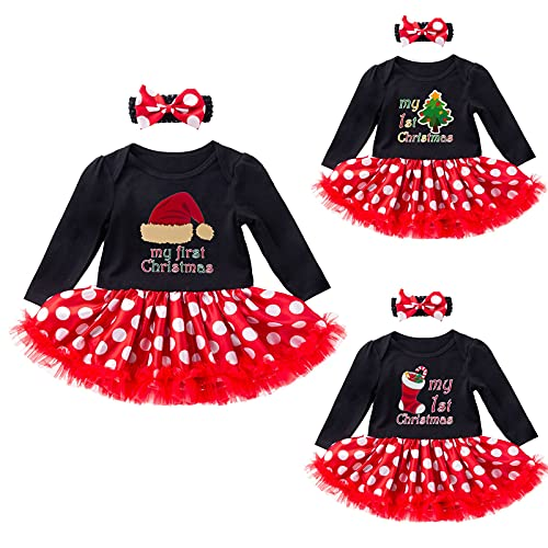 YQSR Conjunto de 2 piezas para bebé y niña con diseño de Papá Noel, manga larga, vestido de princesa