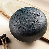 Mini tambor de lengua de acero de 8 tonos 6 pulgadas tambor de lengua C clave Lotus mano Pan tambor con mazos de tambor bolsa de transporte percusión (azul marino)