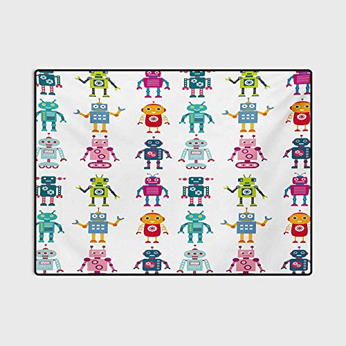 Nursery Outdoor Rugs for patios Outdoor Area Rug Colorful Cartoon Style Robot Figures Futuristic Funny Mascots Friendly Androids for Children Bedroom Home Decor Nursery Rug Multicolor 3 x 5 Ft