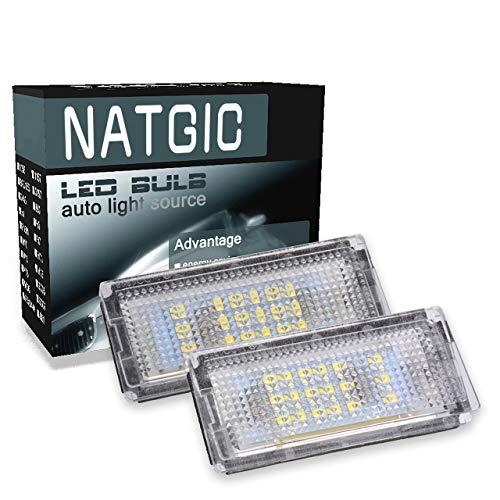 NATGIC 1 Paire de lumière de Plaque d'immatriculation à LED 3528 puces 18SMD Can-Bus Intégré Lampe de Plaque d'immatriculation à LED étanche pour E46-4D / 5D (1998-2005) 12V 3.6W - Blanc 6000K