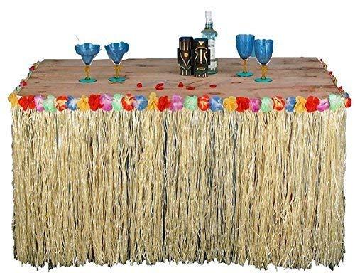 Quickdraw Tropical Luau Hawaïen Table Jupe d'herbe avec Fleurs Barbecue Décoration de Fête