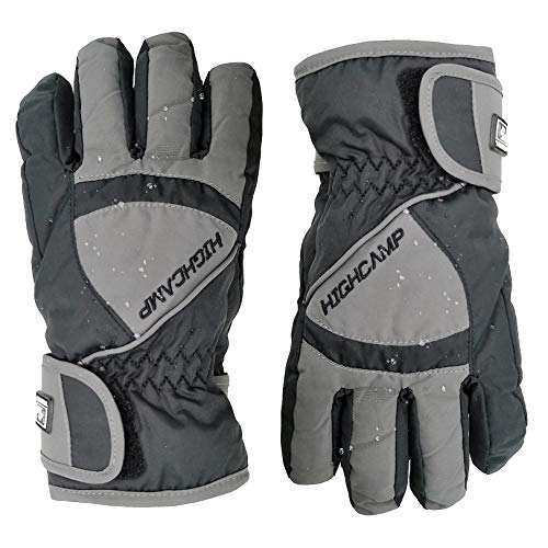 Highcamp Kids Boy Girl Waterproof Ski Snow Gloves Cold Weather Warm Winter Gloves (Charcoal, 4-6 Years)
